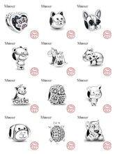 Recente theo urso porco animal reino gato cão unicórnio talão caber pandora encantos originais prata 925 pulseira para as mulheres moda jóias