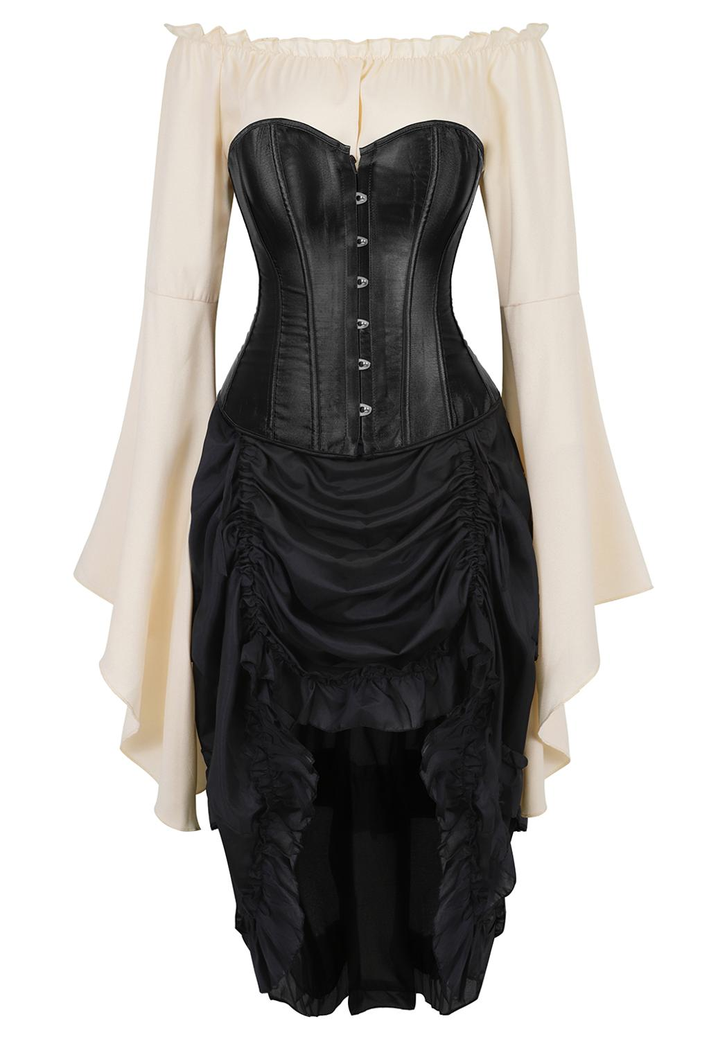 Grebrafan Satin Corset Plus Size with Pirate Skirt and Blouse 3 Piece Costume Steampunk