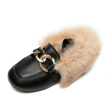 JGVIKOTO Brand Autumn Winter Girls Shoes Warm Cotton Plush Fluffy Fur Kids Loafers With Metal Chain Boys Flats Children - discount item  20% OFF Children's Shoes