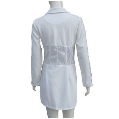White blazer Lace Patchwork Office Dresses Women Party Night Deep V Neck Long Sleeve Bodycon Dress Solid Jacket  Vestidos 2020