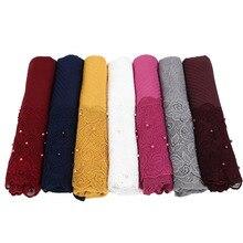 Foulard Floral en dentelle plissée, Hijab, châle, perles froissées, musulman, rouge, jaune, noir, blanc, écharpe de cheveux, nouvelle collection 2020