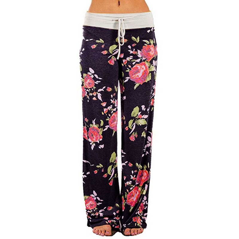 Women High Waist Pants Plus Size Spring Floral Print Wide Leg Casual Trousers Comfortable Stretch Drawstring Fashion Long Pants