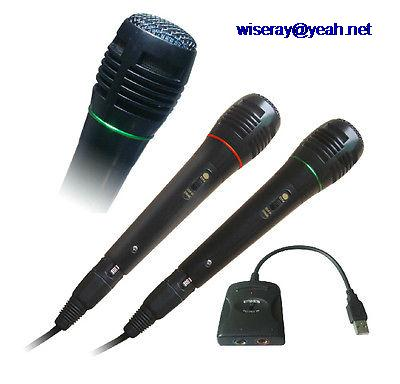 DHL/EMS 5 шт. 5в1 проводной 2 металлический микрофон USB до 6,35 мм для PS2/PS3/wii/Xbox 360/PC Rock Ban A8