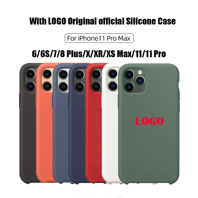 With LOGO Original official Silicone Case For iphone 7 8 6 6S Plus 2020 SE X XS MAX XR 11Pro 11 Pro Max Phone Case Cover
