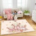 Warm Elephant Family Pattern Kids Play Carpet Children Rug Baby Nursery Crawling Flannel Children Durable Non-Slip Floor Carpet