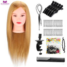 NEVERLAND Salon 22'' Training Mannequin Head With 100% Human Hair Gold Hairdressing Doll Dummy Heads For Hairstyles Hairdressers