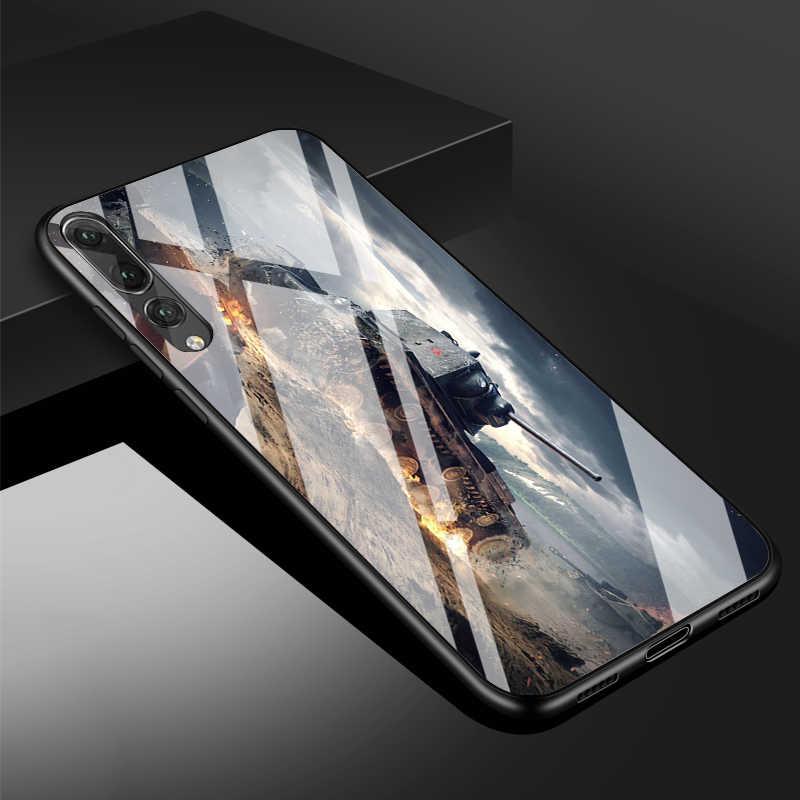 Thế Giới Xe Tăng Kính Cường Lực Điện Thoại Ốp Lưng Cho Huawei P20 P30 Lite P20 P30 Pro MATE20PRO Danh Dự 10 Giao Phối 20 lite