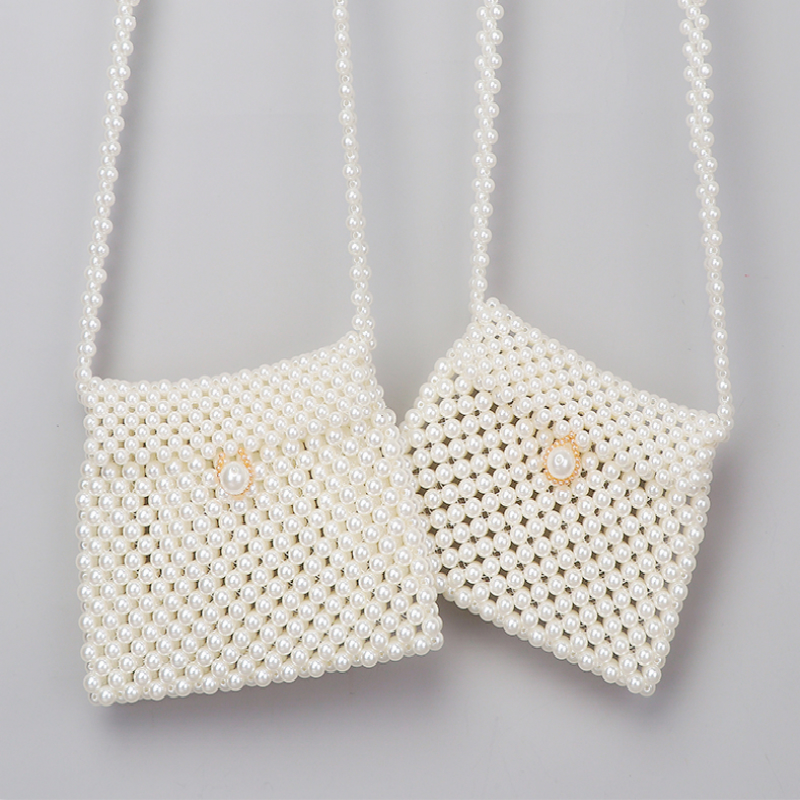 Handmade Beaded Dumplings Pearl Bag Woven Korean Version Of The Small Pockets Shoulder Diagonal Phone  Female Clutch Coin Purse