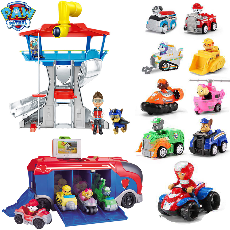 Paw Patrol Toys Set Dog Patrulla Canina Anime Figurine Car Plastic Action Figures Model Children Kids Toy Christmas Gifts D60