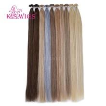 K.S WIGS-Peluca de cabello humano liso con doble punta en U, 28 pulgadas, 1 g/h, extensión de cabello Remy con queratina Fusion prepegado en cápsula