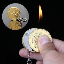 Encendedor con colgante de llama para hombre, aparatos portátiles originales de oro, encendedor de monedas creativo, llavero, encendedor de cigarrillos, novedad