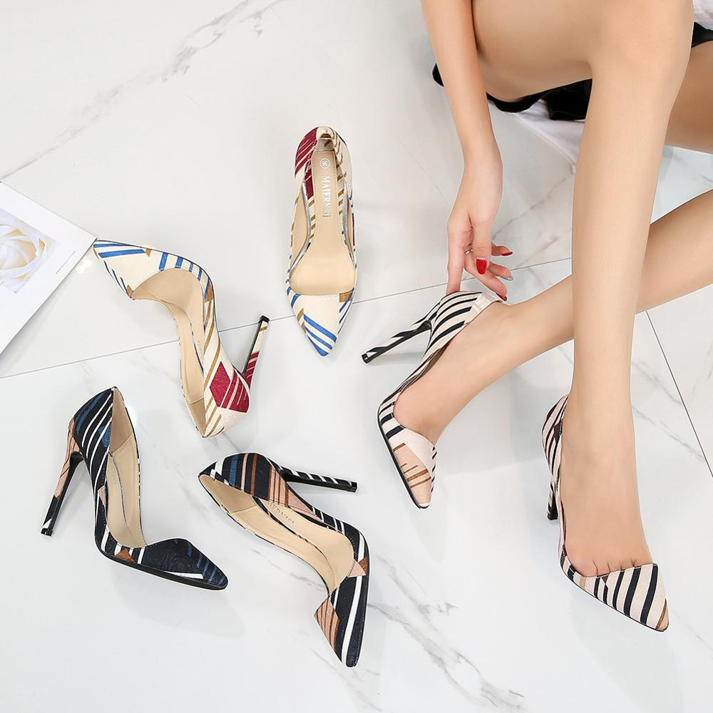 Women's Shoes High Heels Pointed Striped Cloth Stiletto Fashion Shoes Pumps Plus Size Sexy Dress туфли женские Tacones Mujer46cm