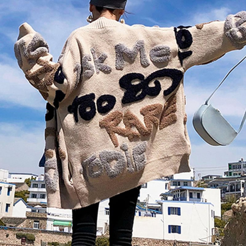 Casual Oversize Letter Print Cardigan Sweater Femlale Thick Warm Korean Knitted Coat Outwear Knitwear 2019 Winter Jersey Mujer