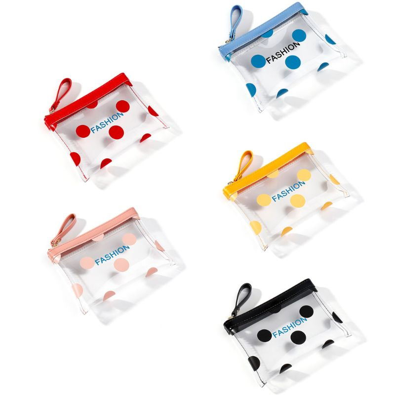 Women Transparent Cute Wallet PVC Coin Bag Case Girls Dotted Small Zipper Purse