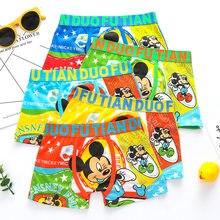 Disney Minnie Mouse 4 Pçs/lote Calças Cuecas Crianças Roupa Interior de Algodão Macio Do Bebê Meninos Roupa Interior Do Homem Aranha Desenho Animado Crianças Cuecas