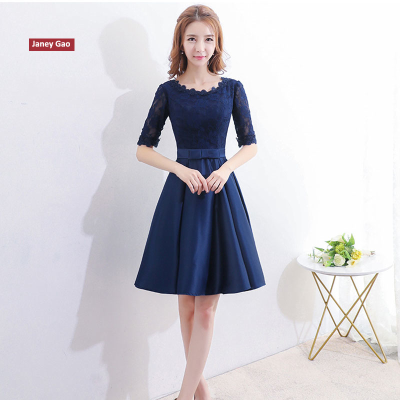 JaneyGao Banquet Evening   Dress   Female 2019 New Elegant Birthday Party Short   Prom     Dresses   Royal Blue With Short Sleeves