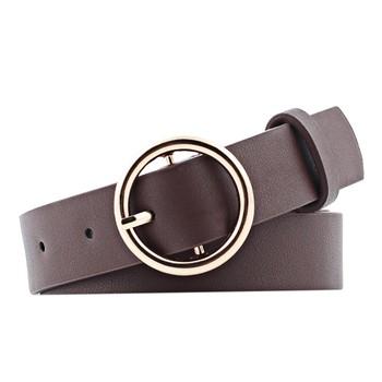 Moda klasyczna okrągła klamra pasy damskie szeroki pas damski 2020 Design wysokiej jakości kobiece skórzane pasy do dżinsów tanie i dobre opinie Na co dzień Adult CN (pochodzenie) WOMEN Stałe 100cm Belt 2 5cm