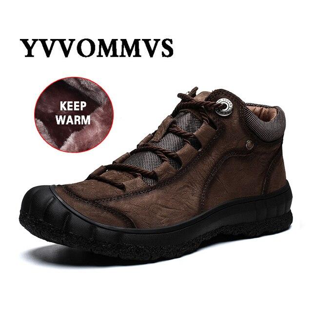 Męskie nowe skórzane buty zimowe utrzymuj ciepłą skórę bydlęcą miękkie na zewnątrz wspinaczka górska toolingskid odporność modne obuwie