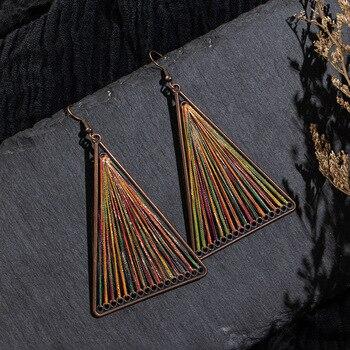 BUDROVKY, pendientes de estilo nacional bohemio, triángulo enrollado, coreano, pendiente de oreja, Red, rojo, largo estilo para el temperamento de las mujeres