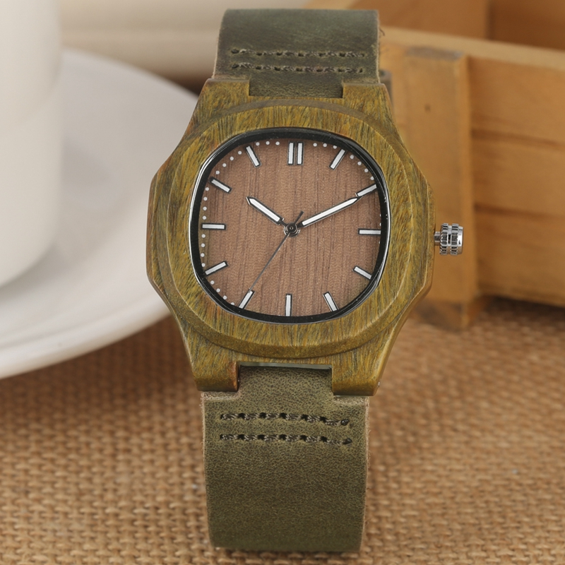 2019 New arrivals Wood Watch Natural Light Wooden Face Fashion Genuine Leather Bangle