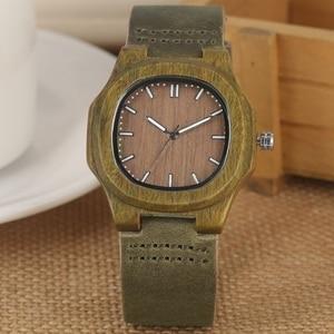 Image 1 - 2020 recém chegados relógio de madeira natural luz rosto de madeira moda pulseira couro genuíno unissex presentes para mulheres masculinas reloj madera