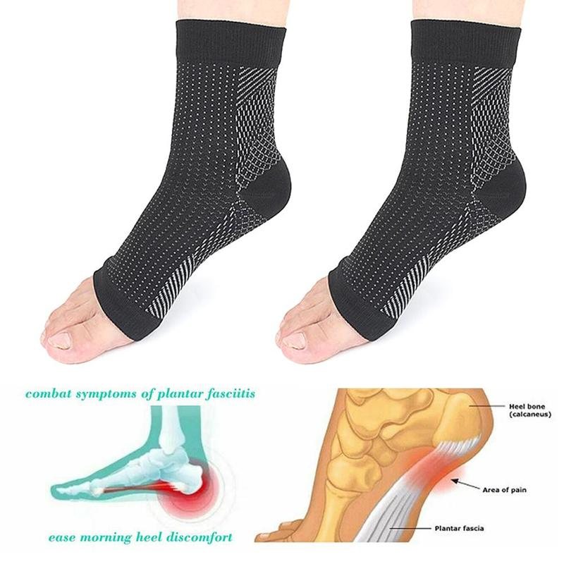 1pair Invisible Relieve Pain Sweat-absorbent Heel Sock Sports Function Compression Socks Breathable Nylon Elastic Sleeve