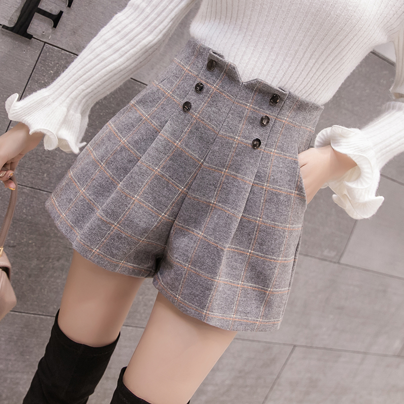 2019 New Fashion High Waist Double-breasted Plaid Wool Shorts Women Autumn Casual Wide Leg Shorts Ladies Woolen Shorts