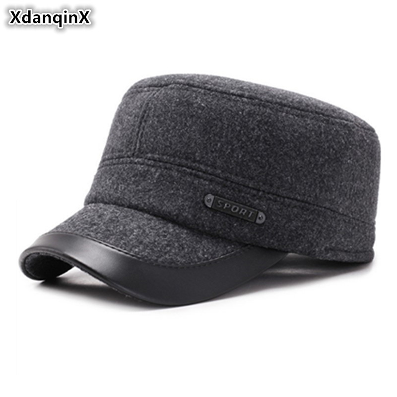 XdanqinX Snapback Cap Men's Winter Thick Warm Flat Caps Army Military Hats Adjustable Head Size Earmuffs Hat Middle-aged Dad Cap