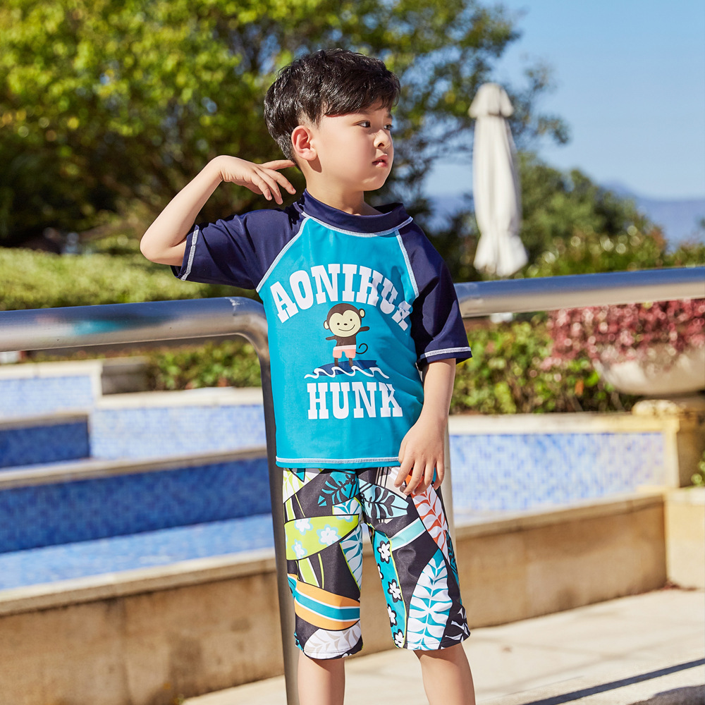 New Style Children Split Type Swimsuit Male Baby Bubble Hot Spring Swimsuit For Boys Handsome Cute Sports Olive Flower 1049