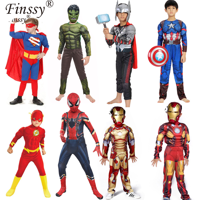 The Avengers Kids Superhero Captain America Iron Man Thor The Flash Cosplay Muscle Clothing Halloween Carnival Costume For Kids