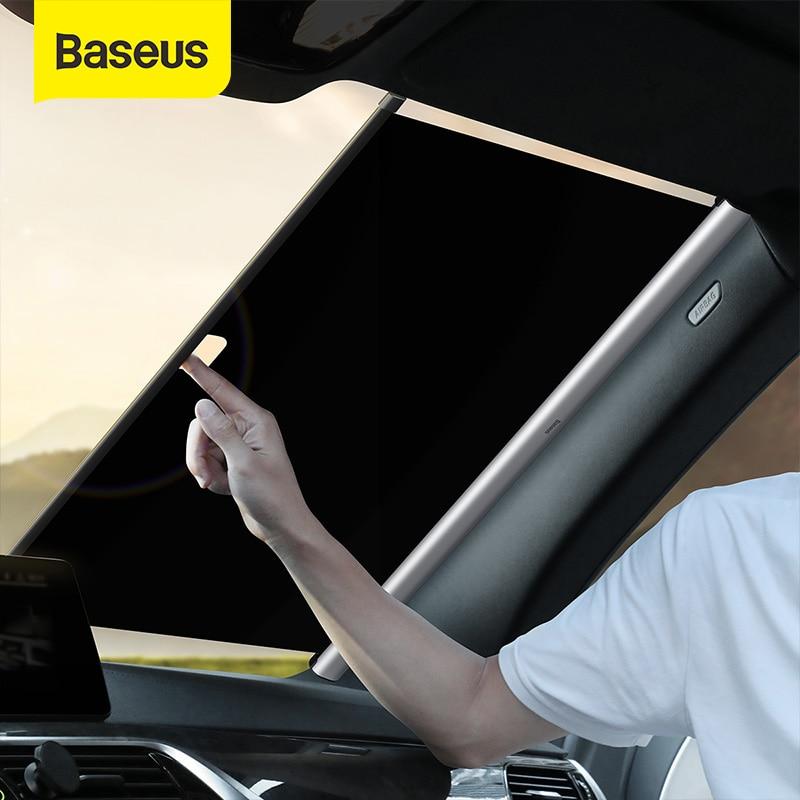 BASEUSรถบังแดดกระจกบังแดดรถหน้าต่างด้านหน้าSun BLOCKหน้าต่างด้านหลังอัตโนมัติผ้าม่านพับได้Sunshade