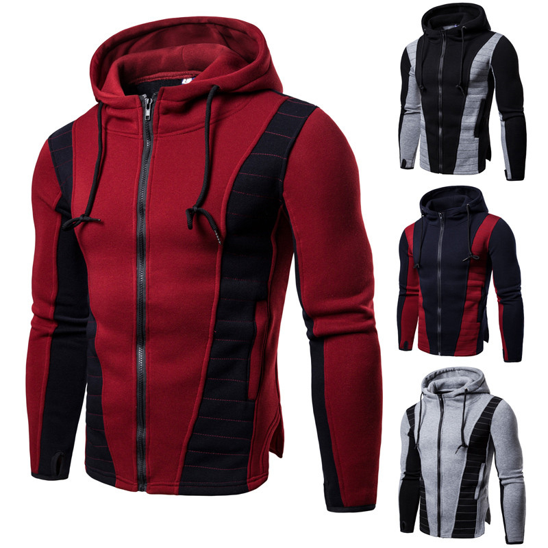 Outdoor Leisure Sports Cardigan Hoodie Running Fitness Male Slim Hooded Stitching Color Matching Hoodie Male