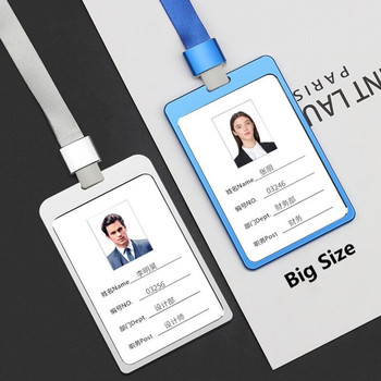 Big Size 100*70MM Aluminum Alloy Office Worker Large ID Card Badge Holder with Neck Lanyard/Strap Working Card Name Tag 2016 new aluminium alloy employee worker id card holder with lanyard