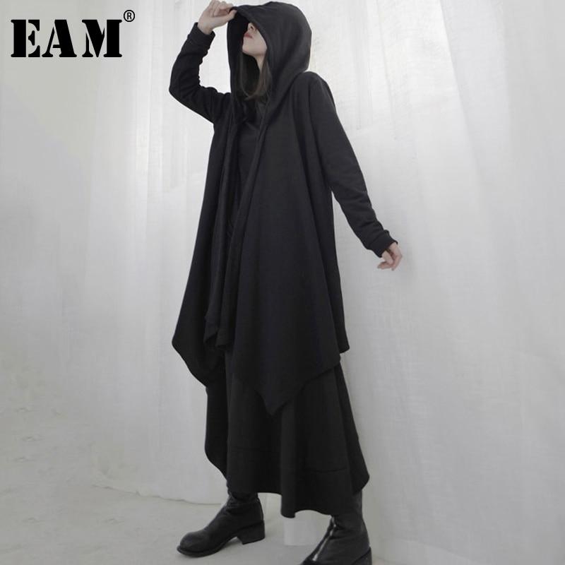 [EAM] Loose Fit Black Asymmetrical Split Joint Big Size Jacket New Hooded Long Sleeve Women Coat Fashion Tide Spring 2020 1S230
