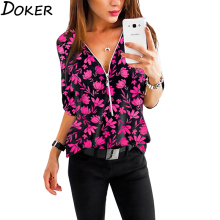 Summer Women Clothes Floral Print Tops 3/4 Sleeve V-neck Plus Size Office