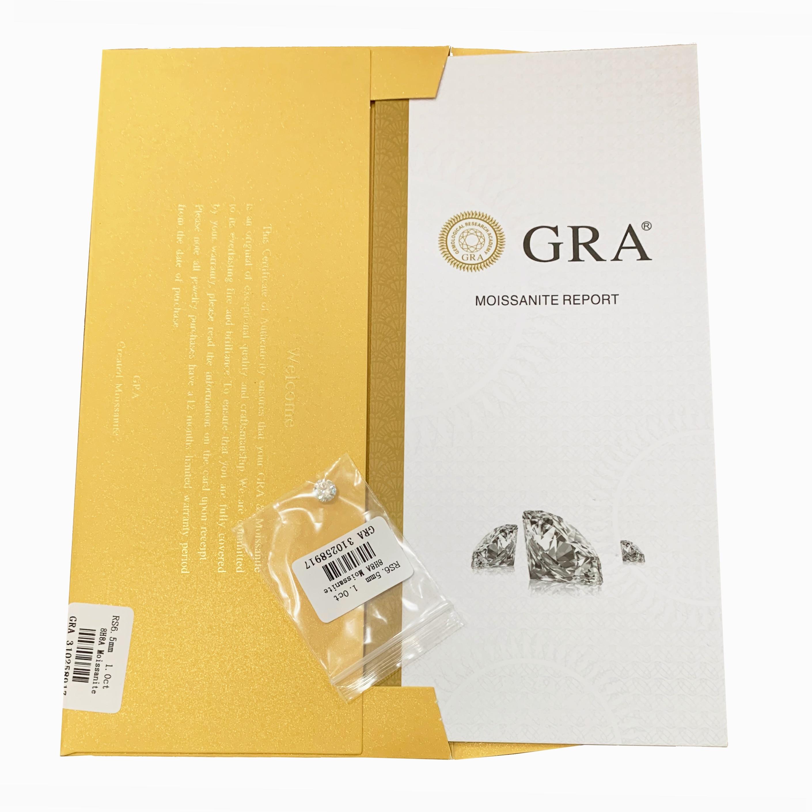 1ct Carat 6.5mm D Color loose moissanite Hearts and Arrows Round cut Lab Grown Diamond Loose Stone VVS1 Excellent Cut