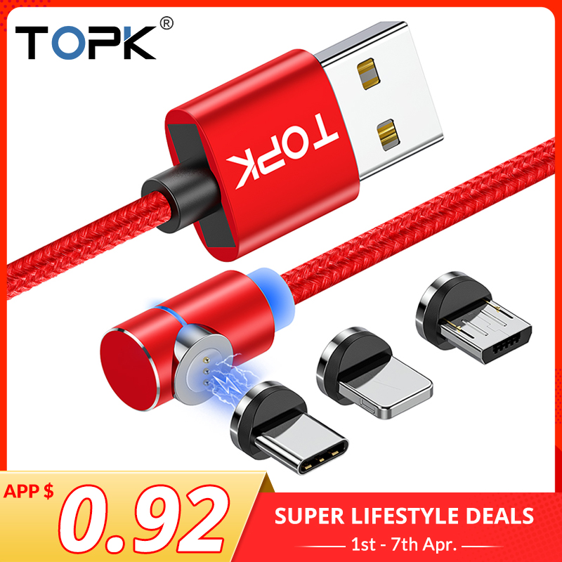 TOPK 3A Magnetic USB Cable 90 degree Micro USB Cable Fast Charging USB Type C Cable for iPhone 11 XR X 7 6 8 6S Plus XS MAX|Mobile Phone Cables| |  - AliExpress