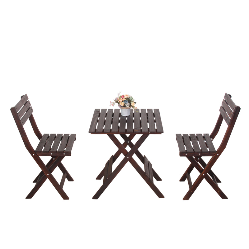 Outdoor Table And Chair Set Solid Wood Balcony Folding Table Chair Combination Garden Leisure Solid Wood Tables Set Preservative Aliexpress