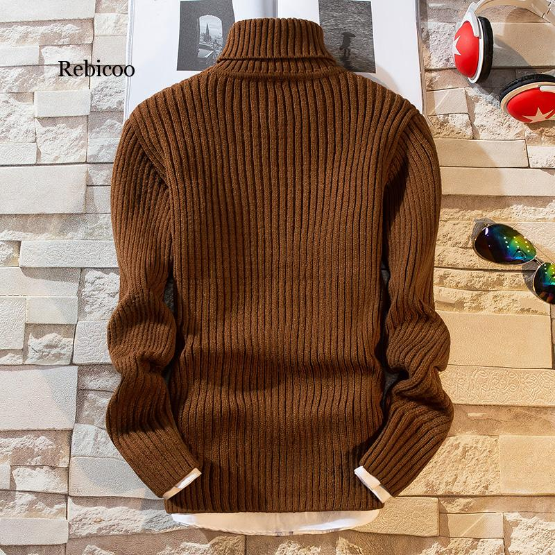 New Fashion Top Quality Turtleneck Christmas Sweater Men Winter Thick Warm Pullover Men Long Sleeve Slim Fit Pull Homme