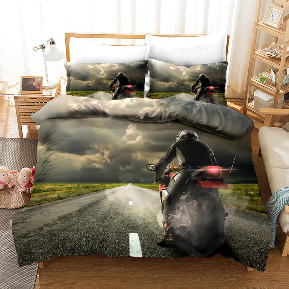 duvet cover queen motorcycle bedding set 3d bed linen girls full size bed comforter sets twin quilt cover set bedspread boys 3pc