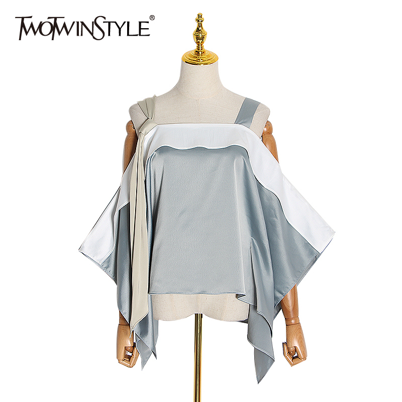 TWOTWINSTYLE Casual Lace Up Shirt Women Square Collar Sleeveless Patchwork Hit Color Loose Asymmetrical Blouses Female Clothing