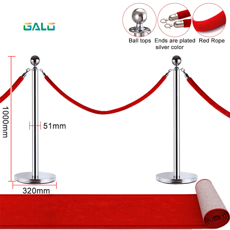 Museum Exhibition Barriers And Ropes 1.5M Hotel Concierge Activity Isolation Red Velvet Rope Barrier Red Rope
