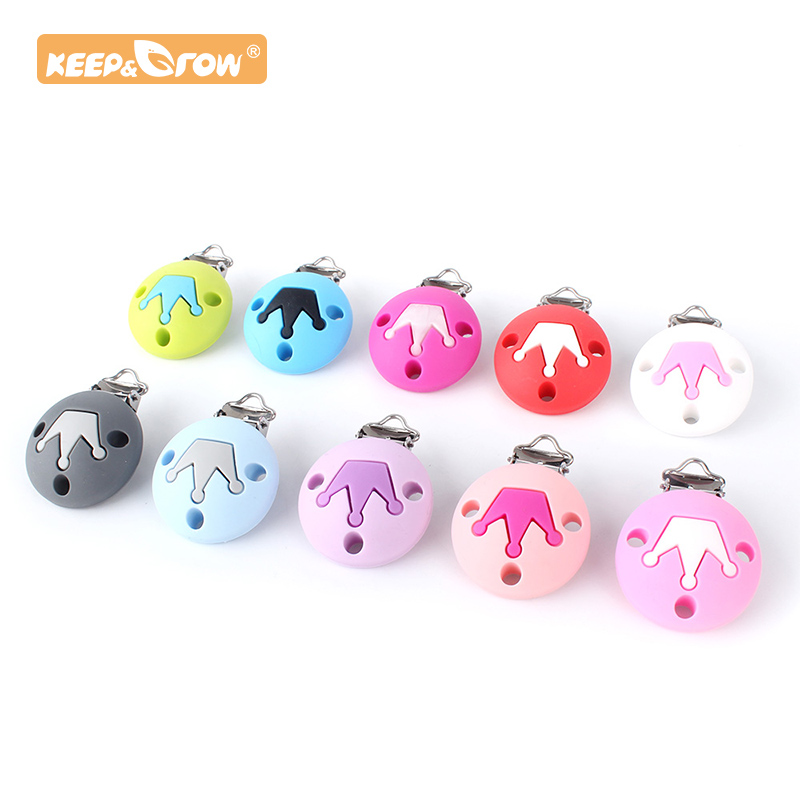 Keep&Grow 1pc Round Silicone Teether Crown Sheap Metal Clip Pacifier Silicone Rodent  DIY Accessories Anti-drop Pacifier Holder