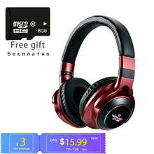 With Mic Headset Support TF Card FM Mode Audio Jack LED Light Wireless Bluetooth