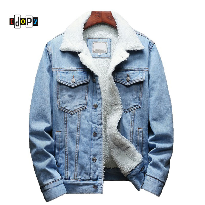 Idopy Winter Jean Jackets Outerwear Warm Denim Coats Men Large Size Fur Liner Thicken Winter Denim Jackets Plus Size S-6XL