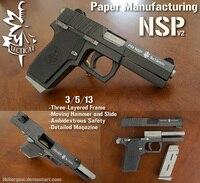 Пистолет NSP с изящной конструкцией, модель масштабе 1:1, ручная работа, бумажная модель пистолета, игрушечная Повседневная головоломка, украш...