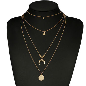 Vintage Moon Multilayer Necklace For Women Bohemian Circle Coin Stone Pendant Choker Necklaces Beads Choker Jewelry vintage multilayer pendant necklaces for women butterfly moon star charm gold choker necklace bohemian jewelry party