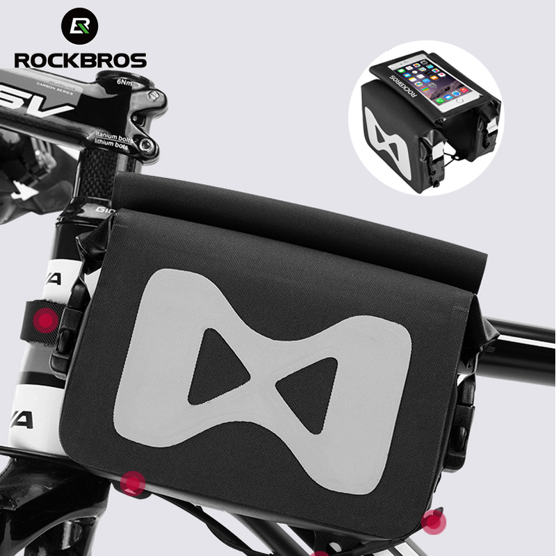 RockBros Frame Front Tube Bag Cycling Bicycle Waterproof  Bag Touch Screen Black