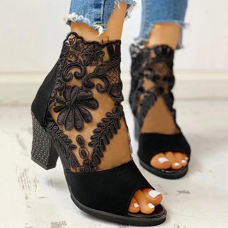 Spring Women Pumps Mesh Leather Flower High Thick Heel Stripe Platform Zipper Peep Toe Slip on Ladies Shoes Zapatos De Mujer