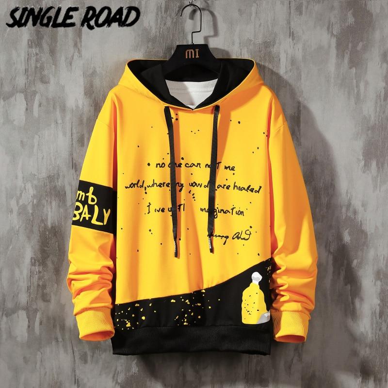 SingleRoad Oversized Mens Hoodies Men 2020 Graffiti Patchwork Sweatshirt Hip Hop Japanese Streetwear Harajuku Yellow Hoodie Men
